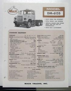 1966 Mack Truck Model DM 615S Specification Sheet