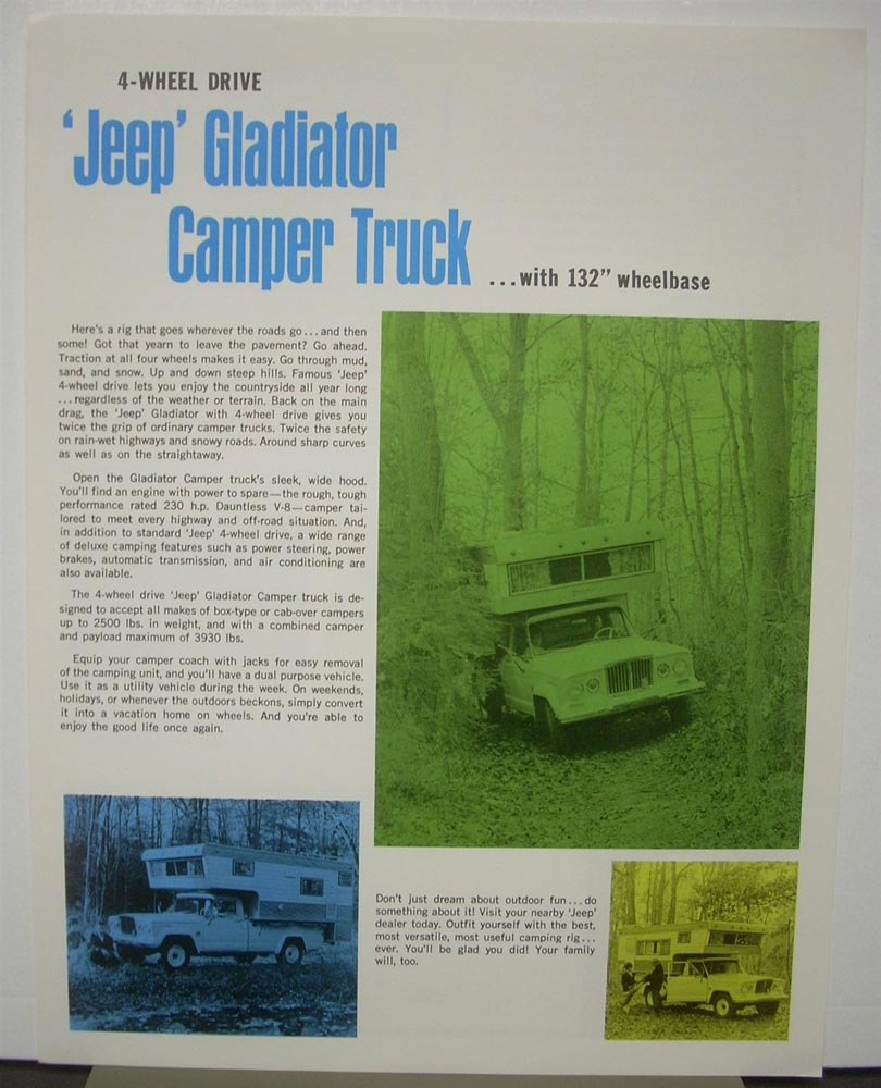 1968 4 Wheel Drive Jeep Gladiator Camper Trucker Brochure Flyer Kaiser Jeep Corp