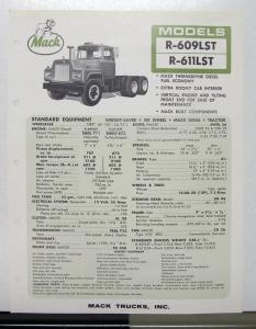 1967 Mack Truck Model R 609LST 611LST Specification Sheet