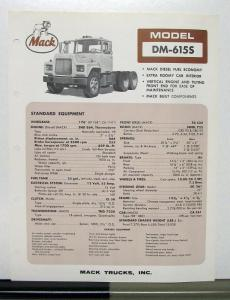 1967 Mack Truck Model DM 615S Specification Sheet
