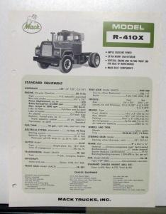 1967 Mack Truck Model R 410X Specification Sheet