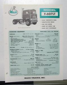 1967 Mack Truck Model F 607LT Specification Sheet