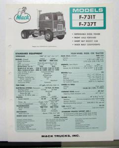 1967 Mack Truck Model F 731T 737T Specification Sheet