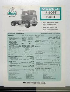 1967 Mack Truck Model F 609T 611T Specification Sheet