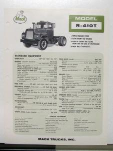 1967 Mack Truck Model R 410T Specification Sheet