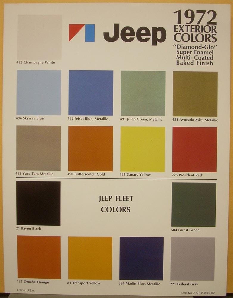 Honda Paint Color Chart >> Jeep Cj Factory Paint Colors - Paint Color Ideas