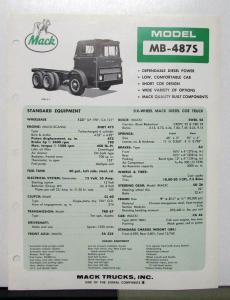 1969 Mack Truck Model MB 487S Specification Sheet