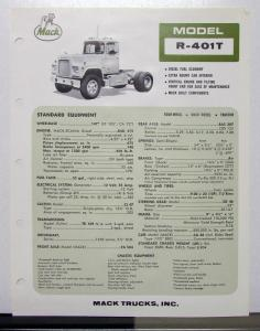 1970 Mack Truck Model R 401T Specification Sheet