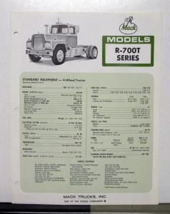 1969 Mack Truck Model R 700T Specification Sheet