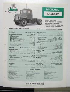 1970 Mack Truck Model U 401T Specification Sheet