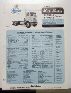 1970 Mack Western Truck Model FL700LS FS700LS Specification Sheet