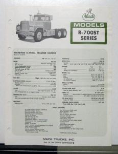 1970 Mack Truck Model R 700ST Specification Sheet
