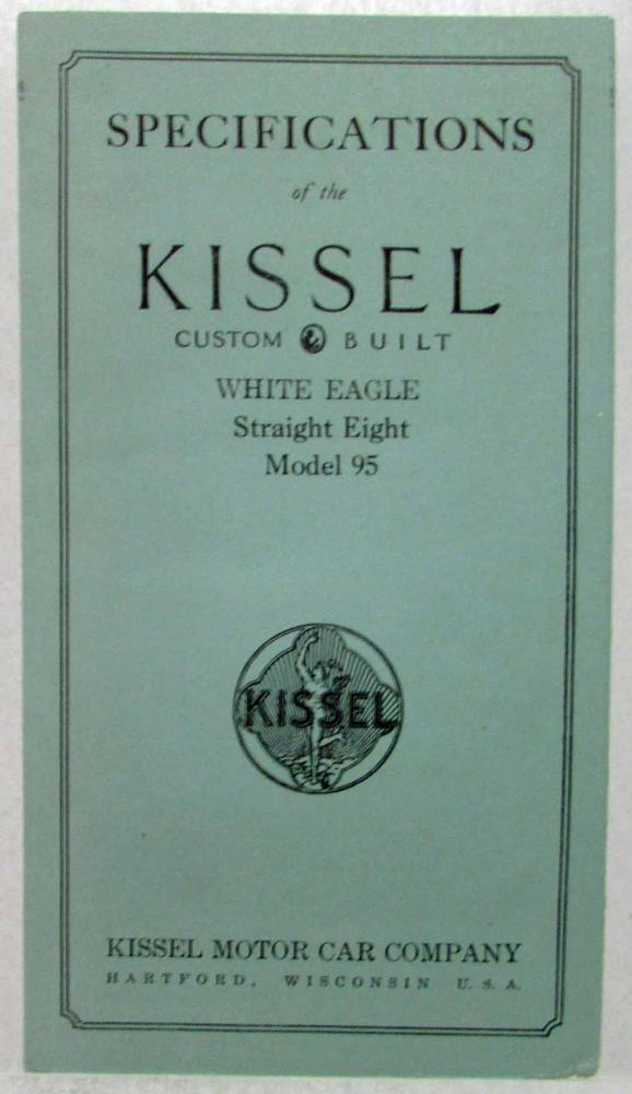 1929 Kissel White Eagle Straight Eight Model 95 Specifications Sales Folder