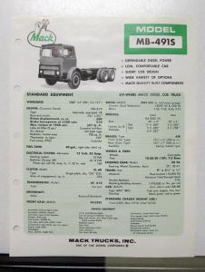 1972 Mack Truck Model MB 491S Specification Sheet