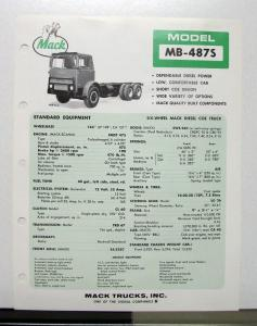 1972 Mack Truck Model MB 487S Specification Sheet