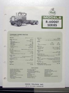 1972 Mack Truck Model R 600ST Specification Sheet