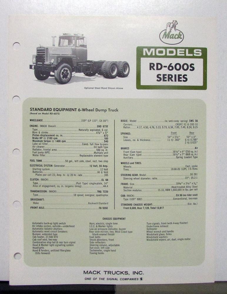 1972 Mack Truck Model RD 600S Specification Sheet