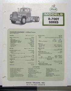 1972 Mack Truck Model R 700T Specification Sheet