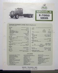 1972 Mack Truck Model R 700LS Specification Sheet