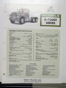 1973 Mack Truck Model R 700ST Specification Sheet