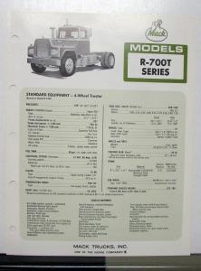1973 Mack Truck Model R 700T Specification Sheet