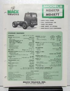 1974 Mack Truck Model MB487P MB487T Specification Sheet