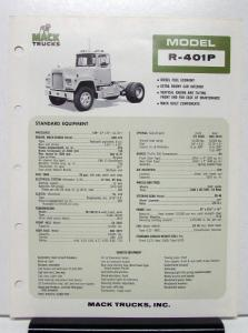 1974 Mack Truck Model R 401P Specification Sheet