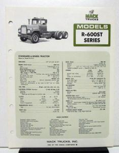 1974 Mack Truck Model R 600ST Specification Sheet