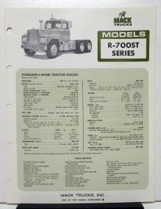 1974 Mack Truck Model R 700ST Specification Sheet