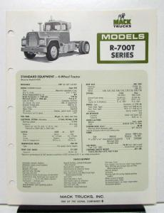 1974 Mack Truck Model R 700T Specification Sheet
