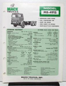 1974 Mack Truck Model MB 491S Specification Sheet