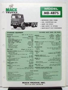 1974 Mack Truck Model MB 487S Specification Sheet