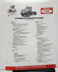 1982 Mack Truck Model R 400P Specification Sheet