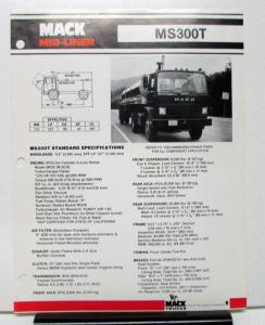 1982 Mack Truck Model MS300T Specification Sheet
