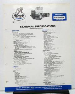 1982 Mack Truck Model RM 6006SX Specification Sheet