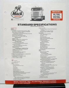 1983 Mack Truck Model WL700L WS700L Specification Sheet