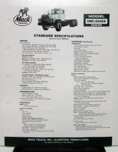 1985 Mack Truck Model DMC 800SX Specification Sheet