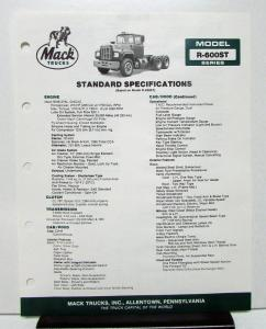 1987 Mack Truck Model R 600ST Specification Sheet