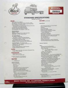 1987 Mack Truck Model RW603 Specification Sheet