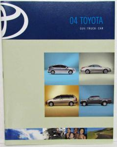2004 Toyota SUV Truck & Car Sales Brochure Sequoia RAV4 Corolla Echo Matrix MR2