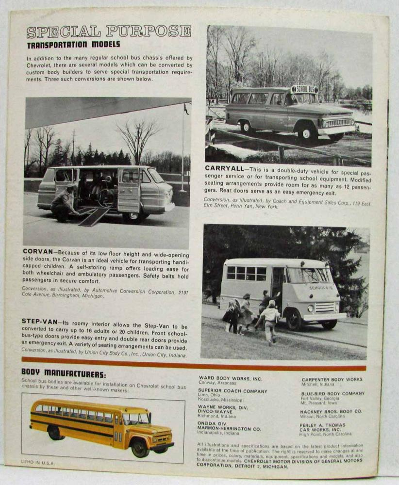 1963 Chevrolet Trucks Models for School Transportation Bus