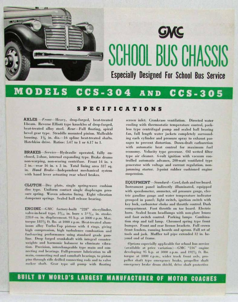 1941 Gmc Trucks Safety School Bus Chassis Sales Brochure W 5 Models Pickup Truck Spec Sheets