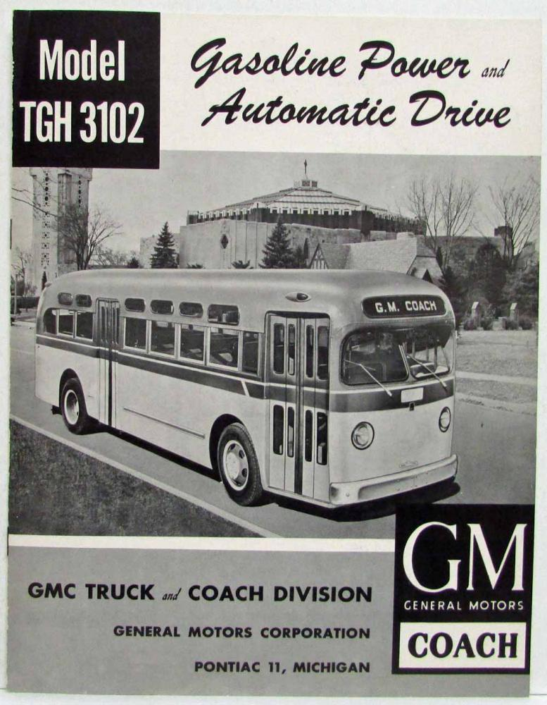 1955 GMC Trucks Gas Power Automatic Model TGH-3102 Coach Bus Sales