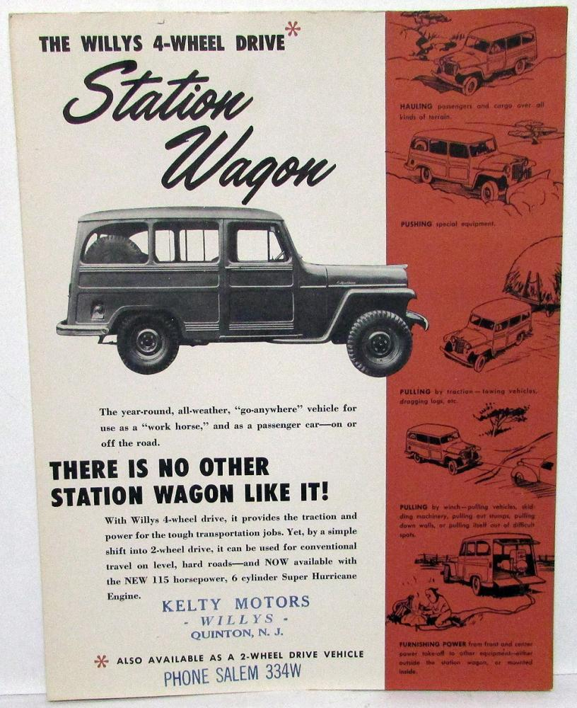 Willys 4-Wheel Drive Station Wagon Sales Brochure by Overland Truck