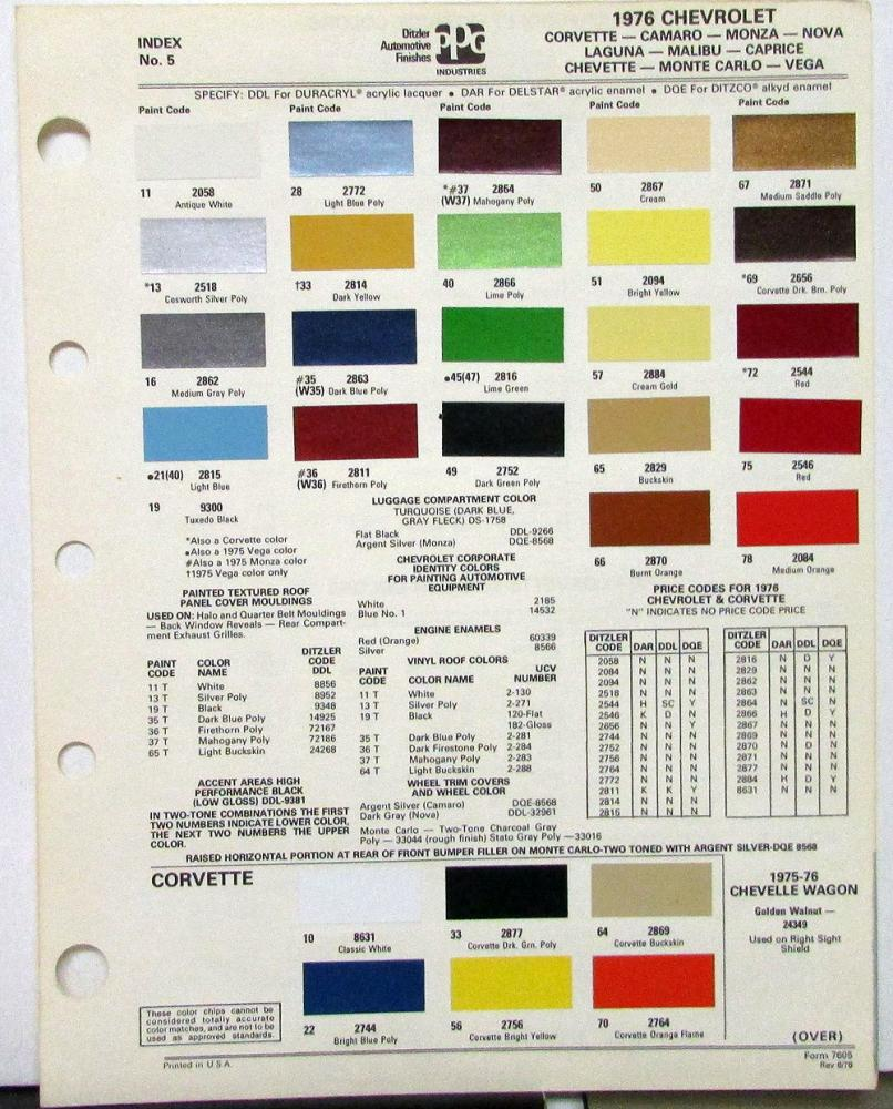 1976 Chevy Paint Chip Colors Ppg Corvette Camaro Monza Nova Laguna 1951 Chevrolet Malibu More