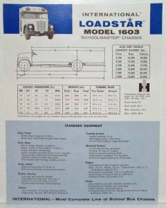 1962 International Harvester Truck Loadstar Model 1603 Blue Specification Sheet