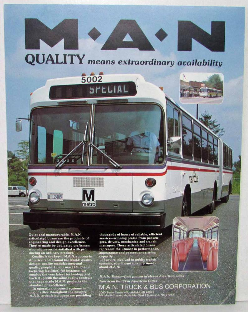 1980-1985 MAN Bus Sales Sheets and Technical Description Bundle