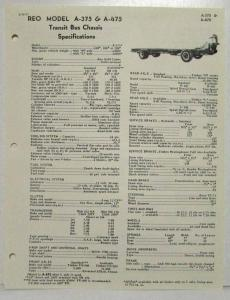 1957 REO A-375 & A-475 Transit Bus Chassis Spec Sheet