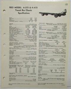 1960 REO A-375 & A-475 Transit Bus Chassis Spec Sheet