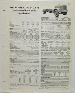 1960 REO C-370 & C-470 Conventional Bus Chassis Spec Sheet